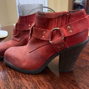 Jeffrey Campbell Red Suede Booties